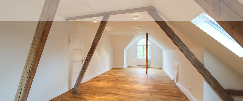 Dachgeschoss einer von Wohnwert Immobilien renovierten Immobilie